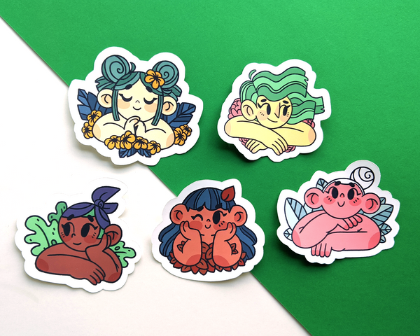 5 weatherproof stickers in the floral cuties sticker pack by jushmu