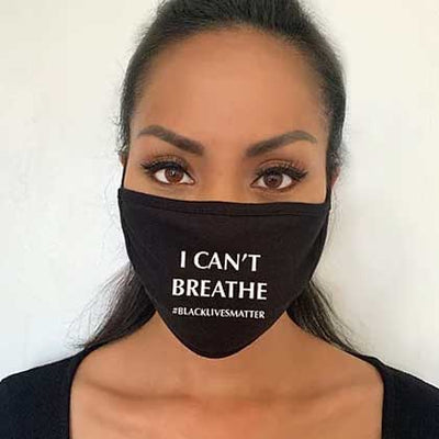 """#BLM I CAN'T BREATHE"" Cotton Jersey Face Mask - SACHIKA® - Official Site"
