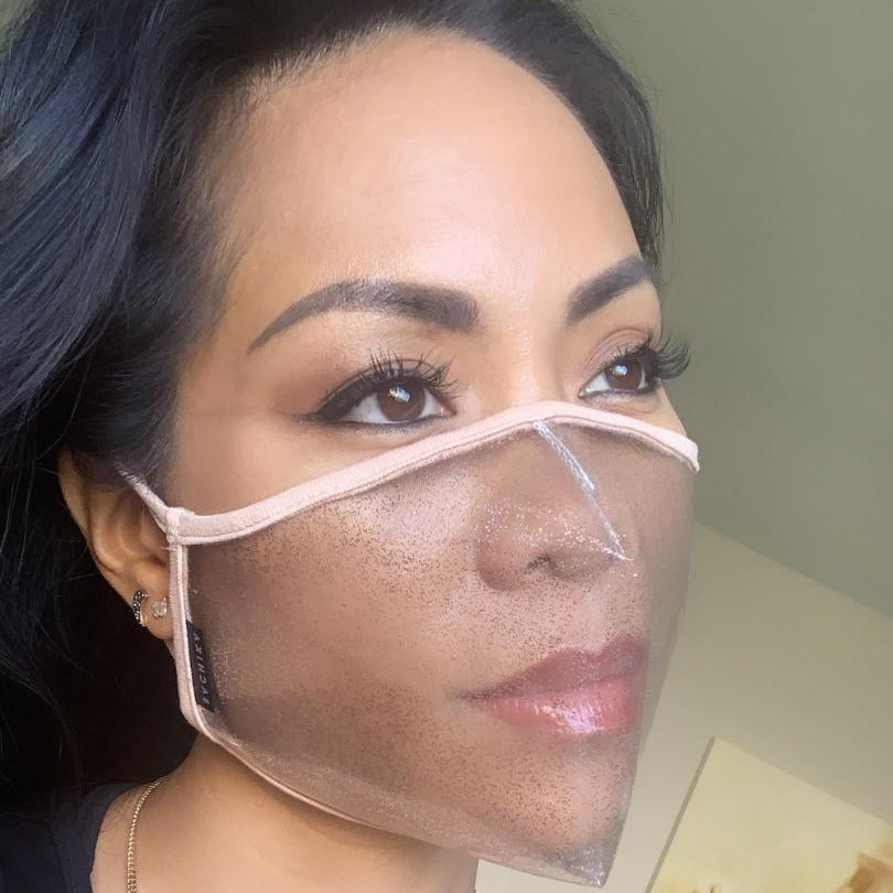 SACHIKA Transparent Sparkly Clear Face Mask with Nude Trim -USA Made - SACHIKA® - Official Site