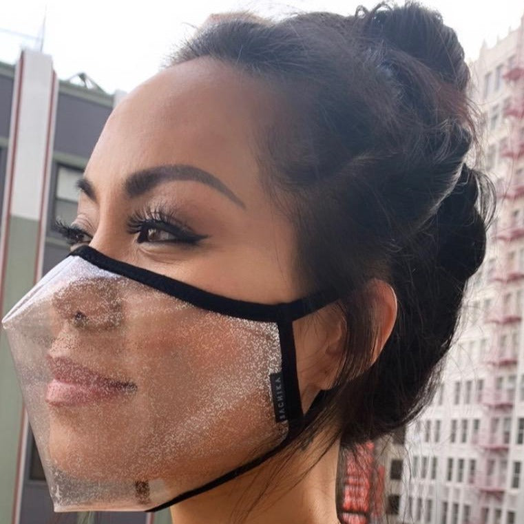Silver Sparkly Clear Transparent Face Mask by SACHIKA - SACHIKA® - Official Site
