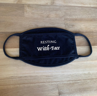 "Straw Hole Halloween ""Resting Witch Face"" Cotton Jersey Face Mask w/ nose wire - SACHIKA® - Official Site"