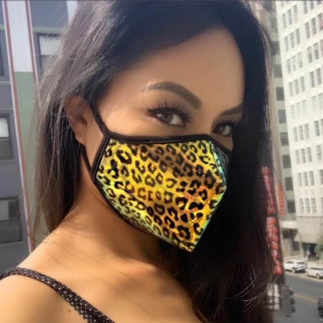 LEOPARD Iridescent Clear Face Mask - Animal Print Adult Unisex Face Cover by SACHIKA - SACHIKA® - Official Site