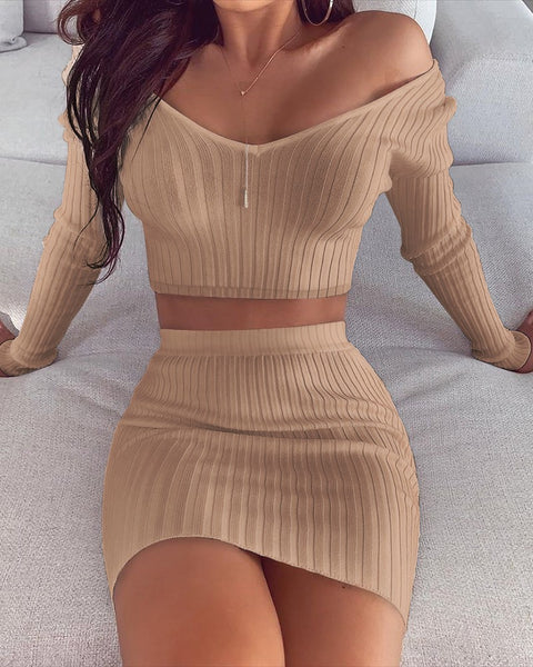 Solid Ripped Top And Skirt Set