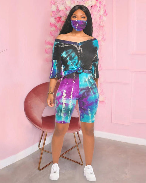 Tie Dye Casual Top & Shorts Set. Mask NOT Included