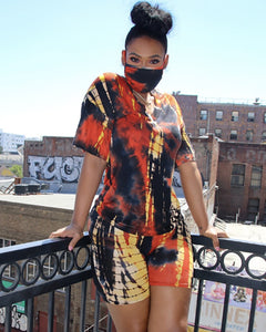 Tie Dye Print Casual Top & Shorts Set With Face Mask