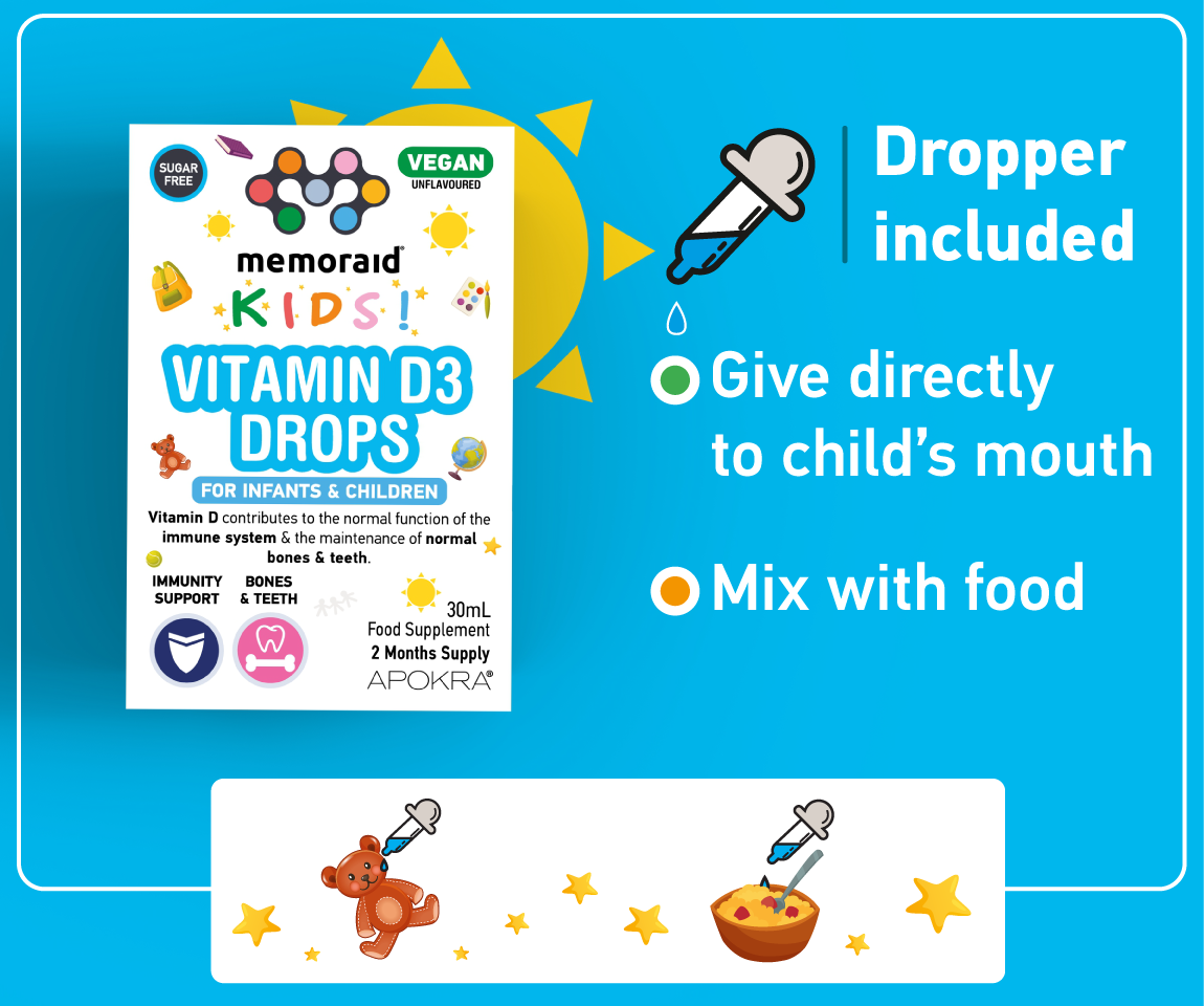 Memoraid Kids Vegan Vitamin D3 Drops 30mL