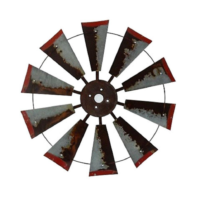 30 Inch Rustic Windmill with Distressed Red Tips