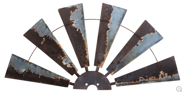 38 Inch Rusty Windmill HALF Wall Art