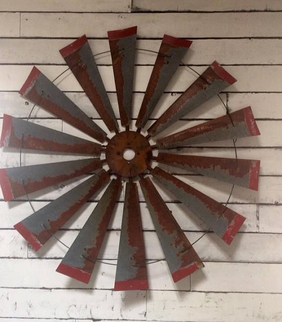 47 Inch Rustic Windmill Art with Red Tips