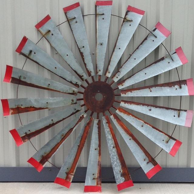 60 Inch Rustic Windmill Head with Distressed Red Tips