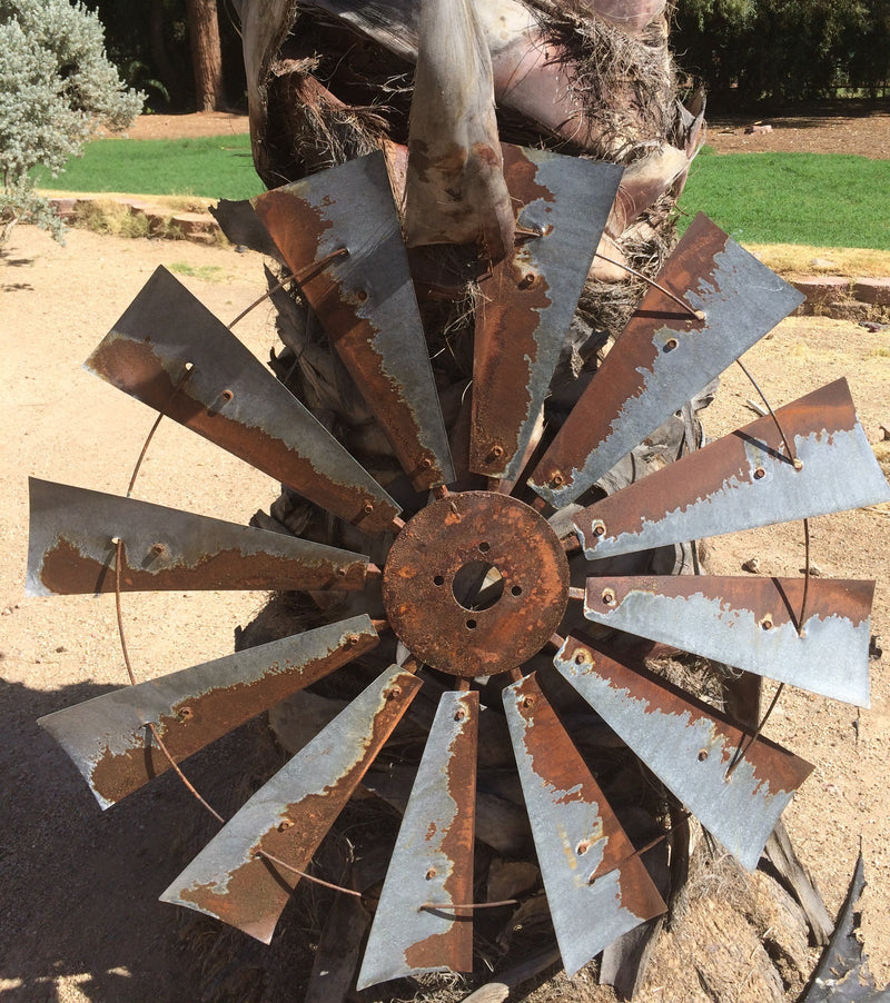 38 Inch Rusty Windmill Wall Décor