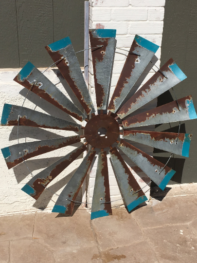 47 Inch Rustic Windmill with Distressed Blue Tips
