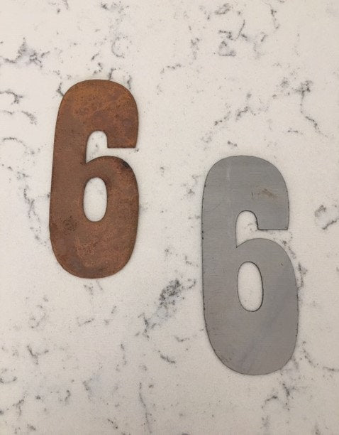 6 Inch Metal Clock Number Set -Includes Numbers 1-12 -  Rusty or Natural Stele Finish