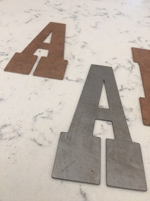 6 Inch Metal Letters-Rusty or Natural Steel Finish