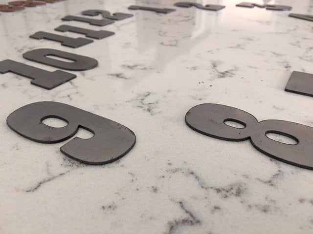 6 Inch Metal Numbers- Rusty or Natural Steel Finish