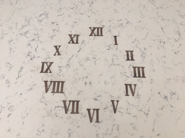 2 Inch Metal Roman Numeral set- Includes Numerals I-XII