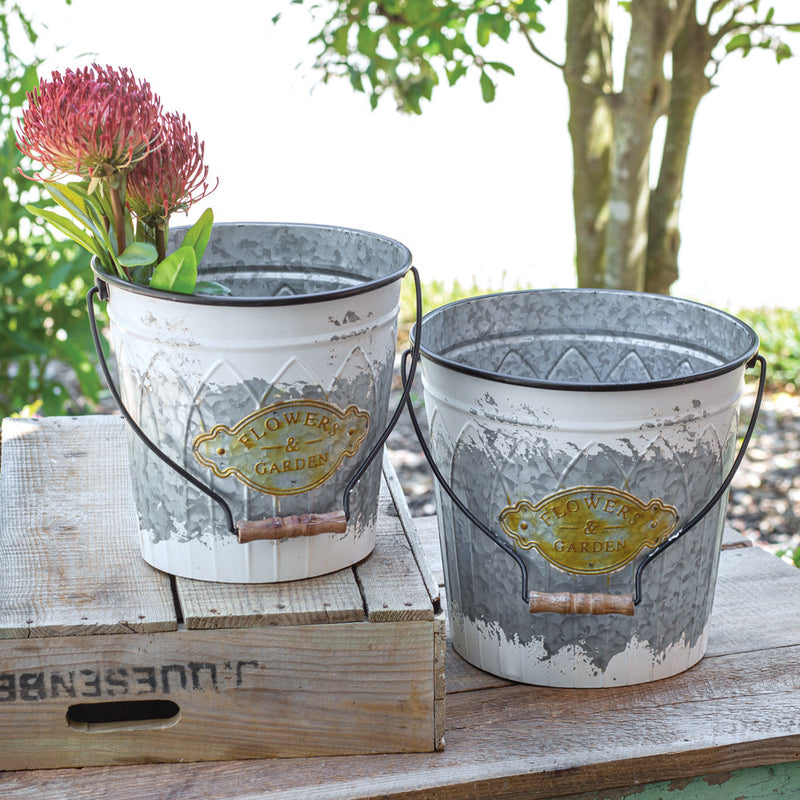 Set of Two Garden Buckets with Handle