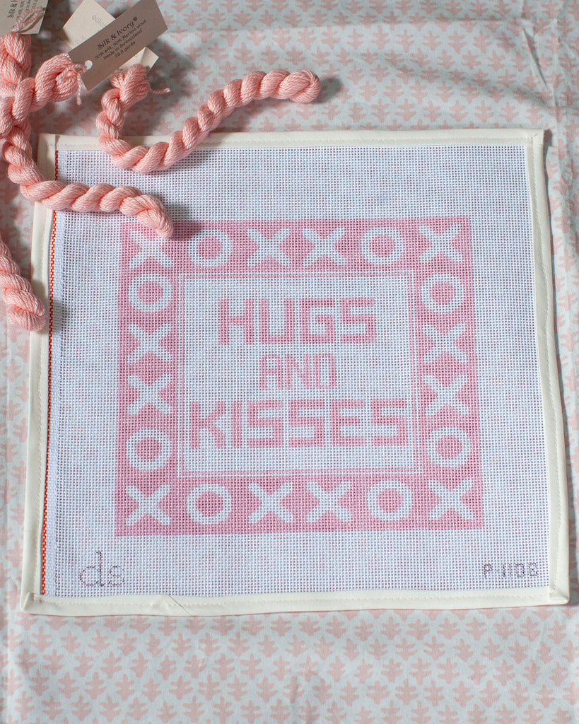 Hugs and Kisses Needlepoint Pillow