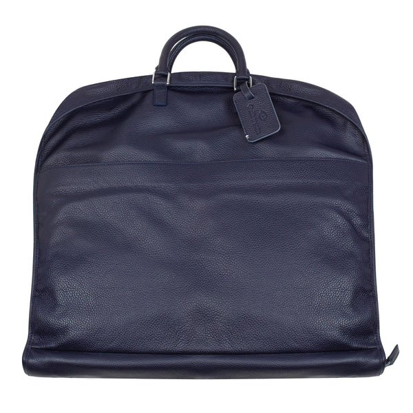 Garment Bag - Navy Leather