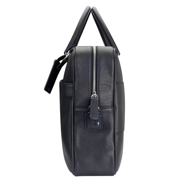 Leather Computer Bag - Navy