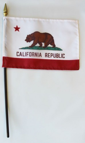 "California  4"" x 6"" Mounted Flags"