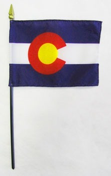 "Colorado  4"" x 6"" Mounted Flags"