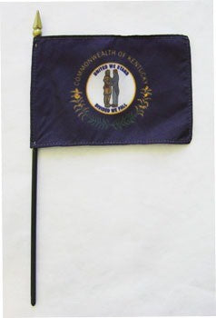 "Kentucky  4"" x 6"" Mounted Flags"