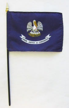"Louisiana  4"" x 6"" Mounted Flags"