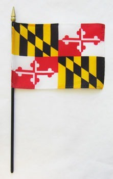 "Maryland  4"" x 6"" Mounted Flags"