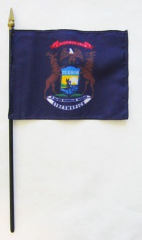 "Michigan  4"" x 6"" Mounted Flags"
