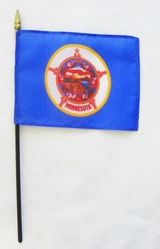 "Minnesota  4"" x 6"" Mounted Flags"