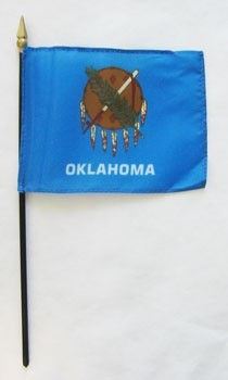 "Oklahoma  4"" x 6"" Mounted Flags"