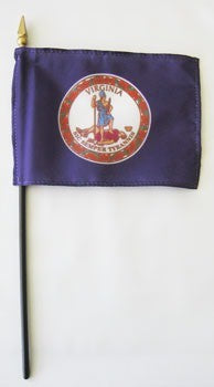 "Virginia  4"" x 6"" Mounted Flags"
