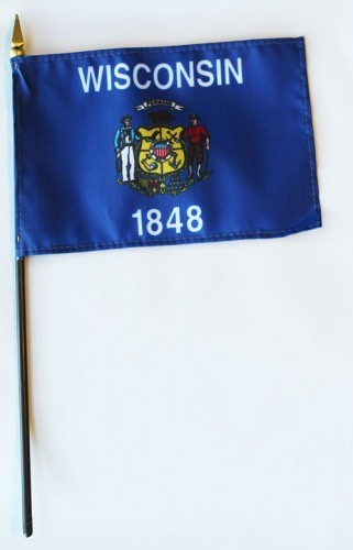 "Wisconsin  4"" x 6"" Mounted Stick Flags"