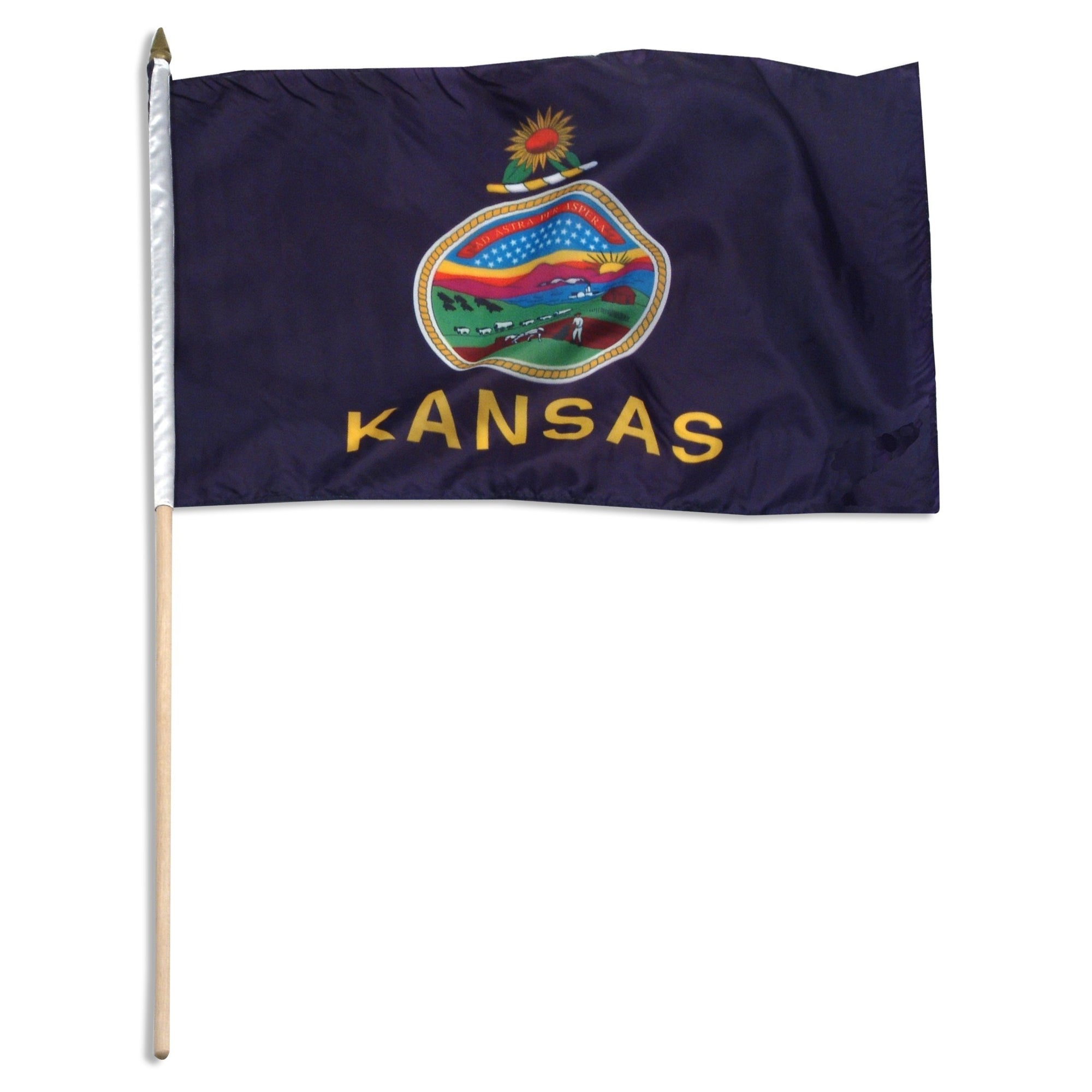 "Kansas  12"" x 18"" Mounted Flag"