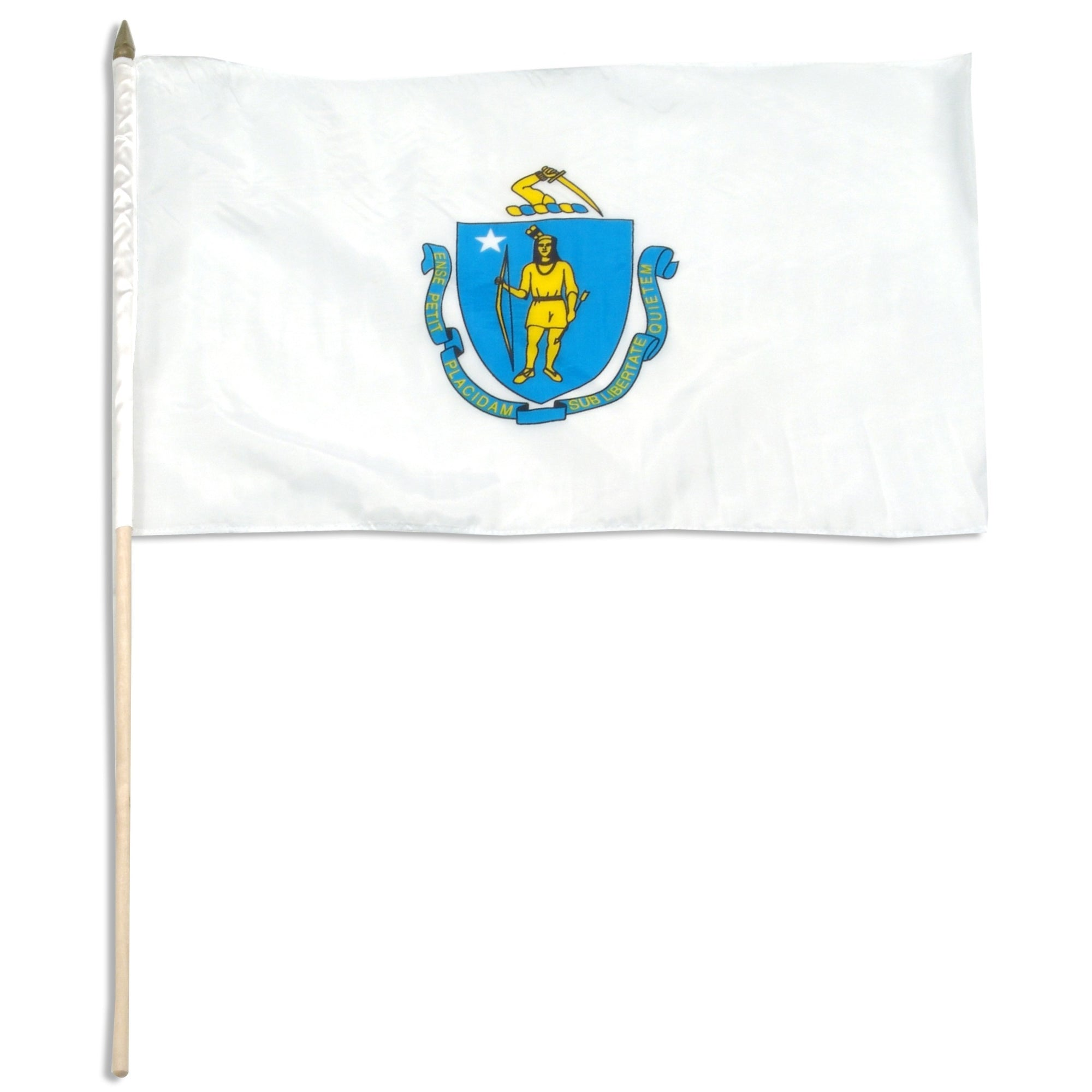 "Massachusetts  12"" x 18"" Mounted Flag"