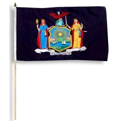 "New York  12"" x 18"" Mounted Flag"