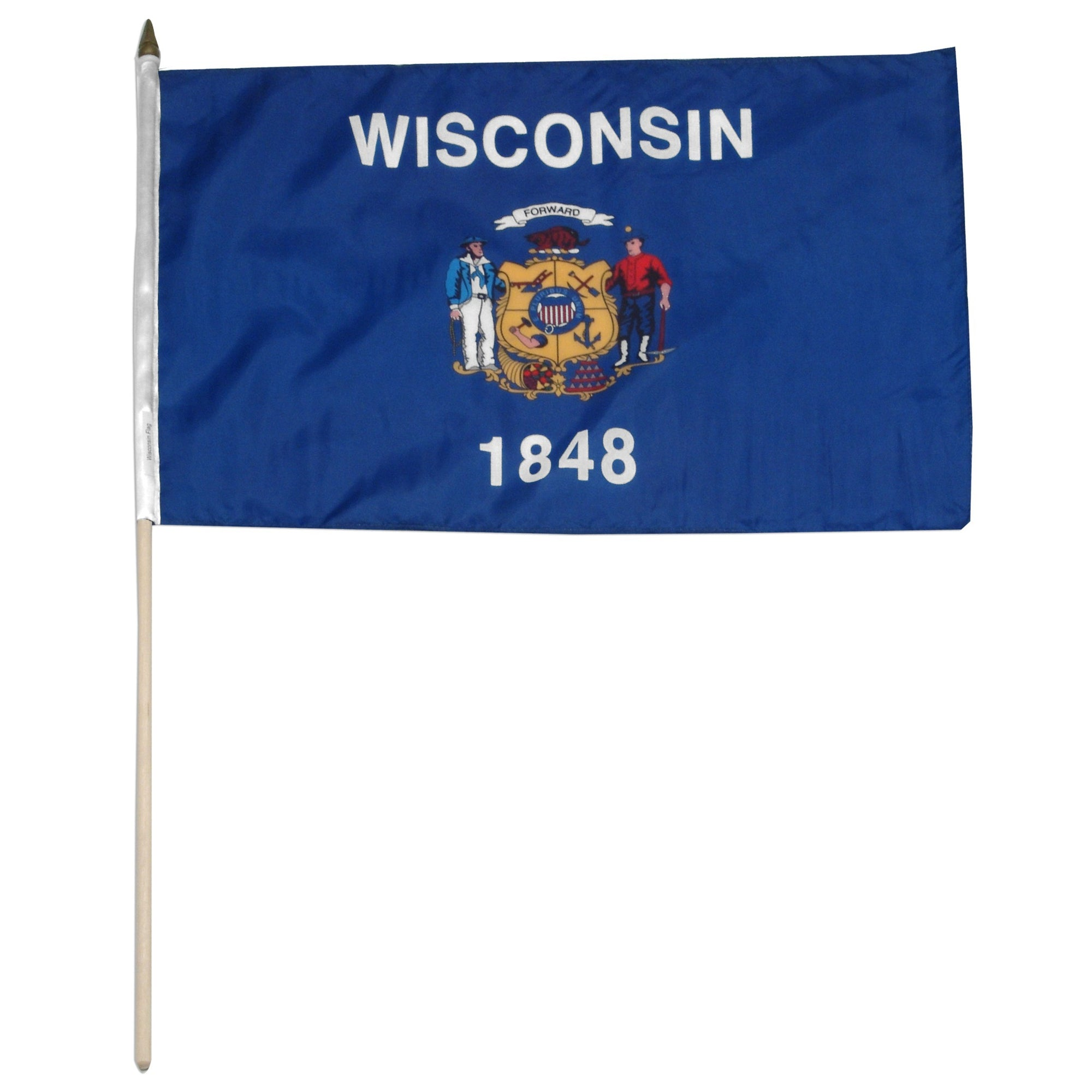 "Wisconsin  12"" x 18"" Mounted Flag"