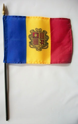 "Andorra 4"" x 6"" Mounted Country Flags"