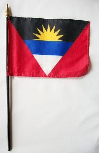 "Antigua & Barbuda 4"" x 6"" Mounted Stick Handheld World Island Flags"