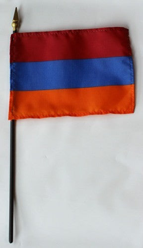 "Armenia 4"" x 6"" Inch Mounted Stick Country Armenian Flags"