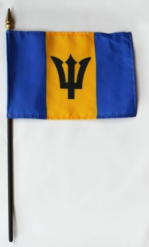 "Barbados 4"" x 6"" Mounted Country Flags"