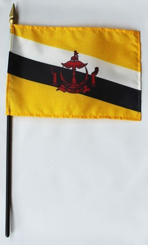 "Brunei 4"" x 6"" Mounted Flags"