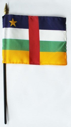 "Central African Rep 4"" x 6"" Mounted Flags"