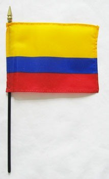 "Colombia 4"" x 6"" Mounted Flags"