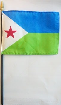 "Djibouti 4"" x 6"" Mounted Flags"