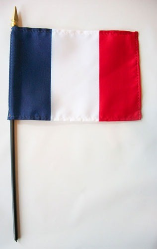 "France 4"" x 6"" Mounted Flags"