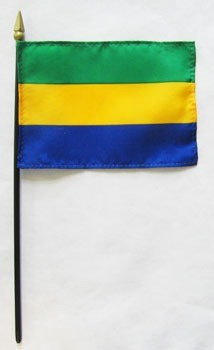 "Gabon 4"" x 6"" Mounted Flags"