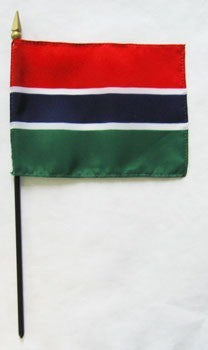 "Gambia 4"" x 6"" Mounted Stick Flags"