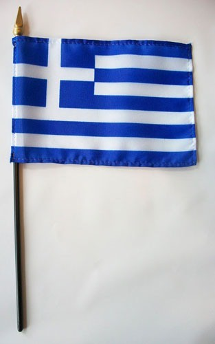 "Greece 4"" x 6"" Mounted Handheld Stick Flags"